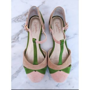 Seychelles Freesia Flats Pink and Green Size 8